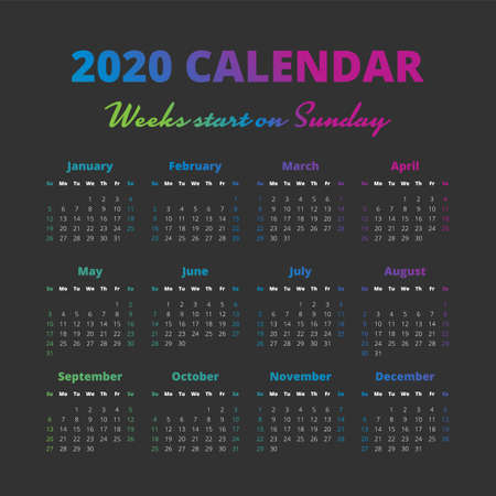 Simple 2020 year calendar on the black background