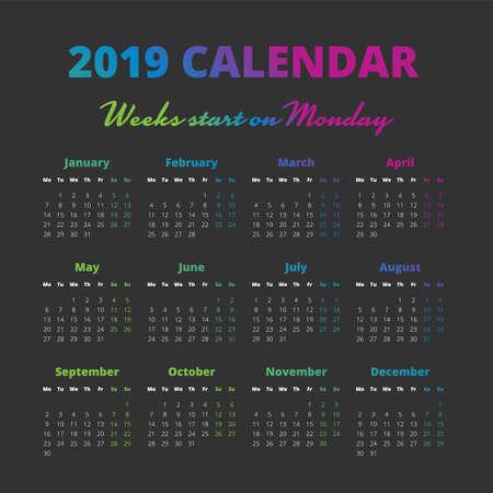 Simple 2019 year calendar on the black background Illustration