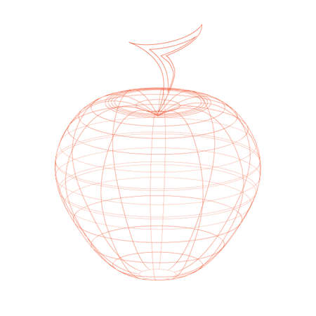 Outlined red apple illustration on the white background
