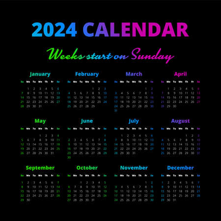 Simple 2024 year calendar on the black background Illustration