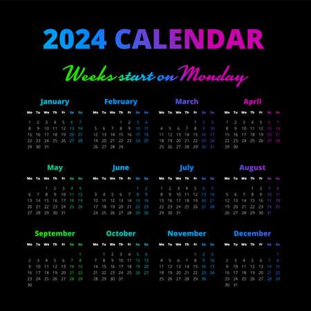 Simple 2024 year calendar on the black background Illustration
