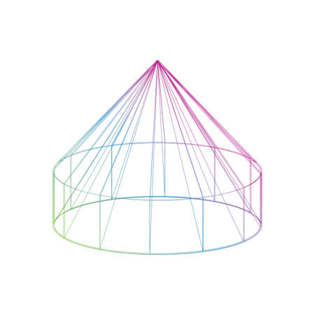 Outline color Yurt icon on the white background Illustration