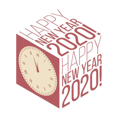 New Year 2020 isometric retro banner with clock