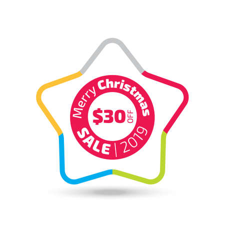 2019 Christmas sale banner with the star shape and shadow