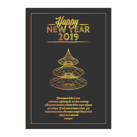 Happy New year retro banner with golden content and Christmas tree