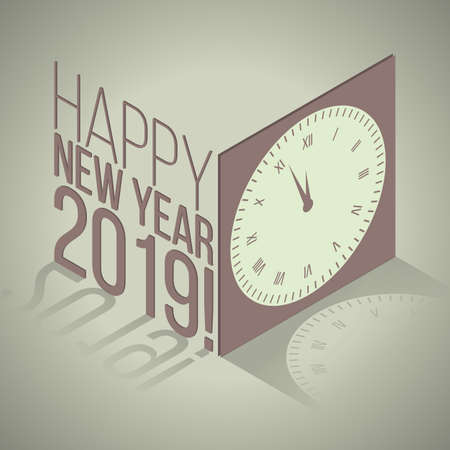 New Year 2019 isometric retro banner with clock Illustration