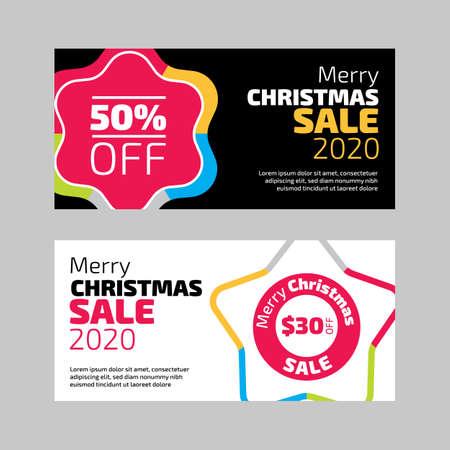 Banners de rebajas de Navidad en fondos blanco y negro Ilustración de vector