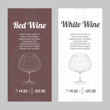 Red and white wine banners set with outlined glass on the white and dark red background