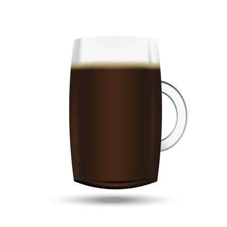 Realistic vector pint of beer on the white background Ilustrace