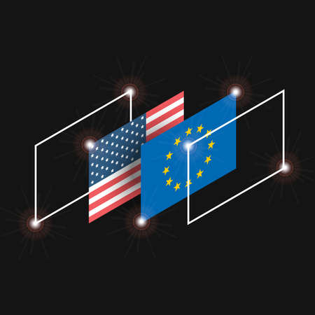 Illustration with USA and Europe flags in isometric projection Иллюстрация