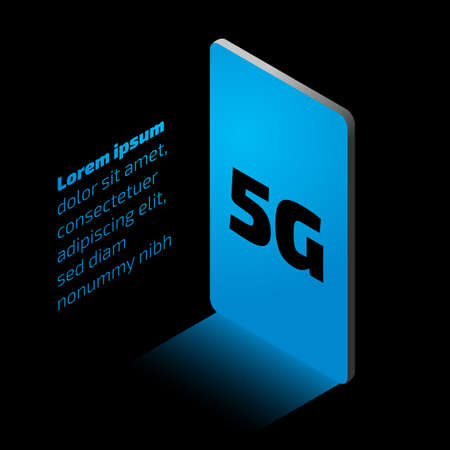 5g internet. Isometric promo illustration with the smartphone