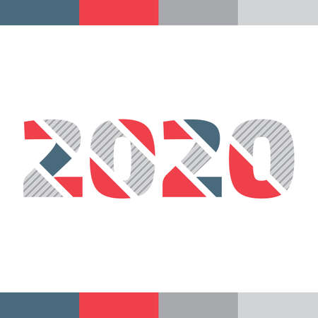 Color 2020 year sign on the white background with decorative elements Çizim