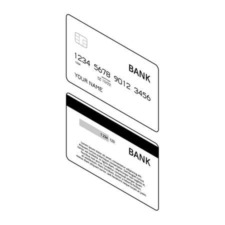 Isometric bank cards. Black and white illustration
