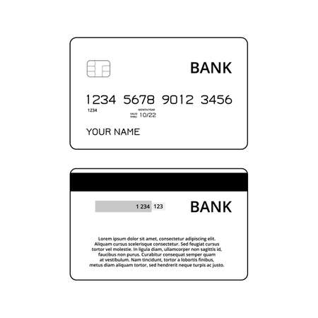 Credit or debit cards templates. Black and white illustration