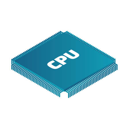 Isometric microprocessor. Color vector illustration on the white background