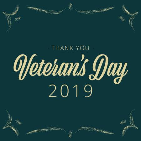 Veterans Day vintage banner - Vector illustration