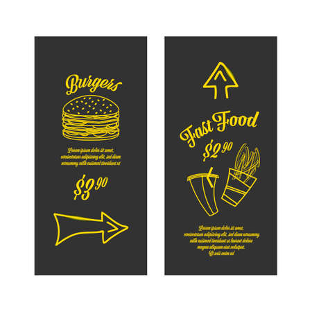 Fastfood banners set. Golden images on the black