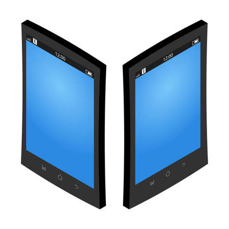 Isometric vector smartphone set. The black color case and the blue screen Illusztráció
