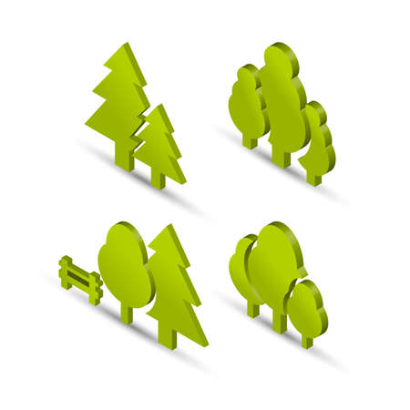 Park and forest icon set in isometric projection with shadows