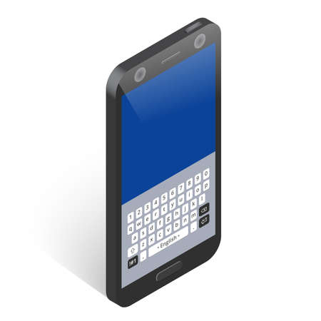 Black isometric smartphone with keypad, right view