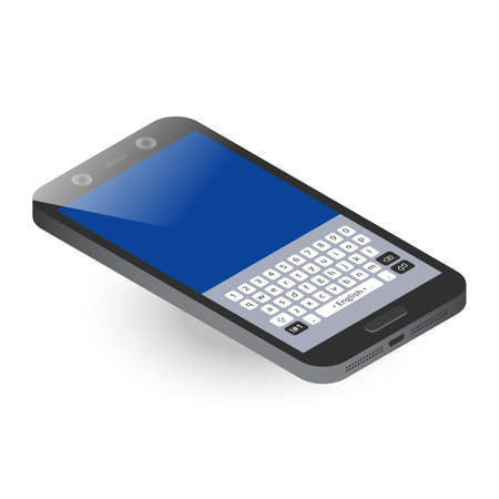 Black isometric smartphone with keypad, top view