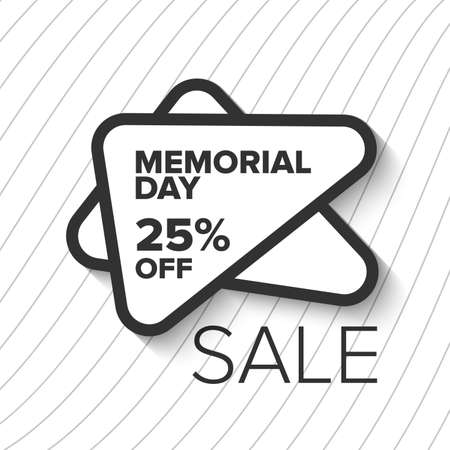 Memorial day sale banner. Grayscale with stripes