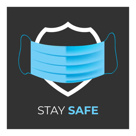 Stay Safe vector banner with the shield and mask