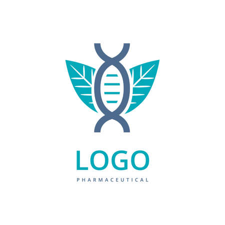 Biotechnology vector logo template with DNA icon