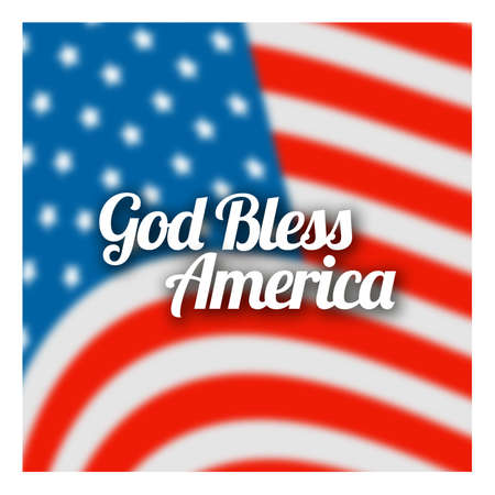 God Bless America banner on the American flag background