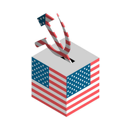 USA election. Ballot box with the hammer and stick. Isometric vector illustration