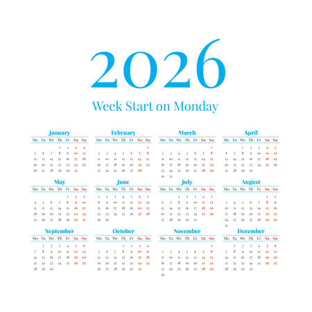 2026 Calendar with the weeks start on Monday Illustration