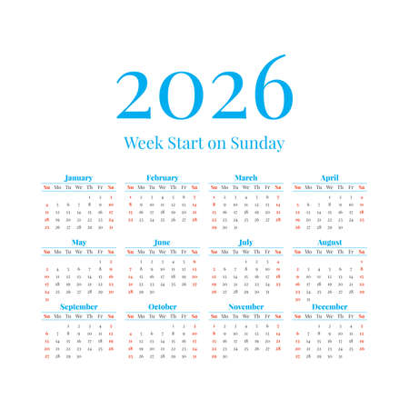 2026 Calendar with the weeks start on Sunday