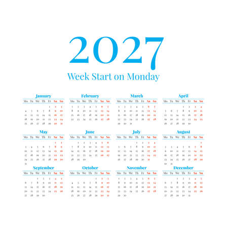 2027 Calendar with the weeks start on Monday
