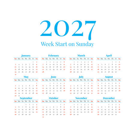 2027 Calendar with the weeks start on Sunday Illustration