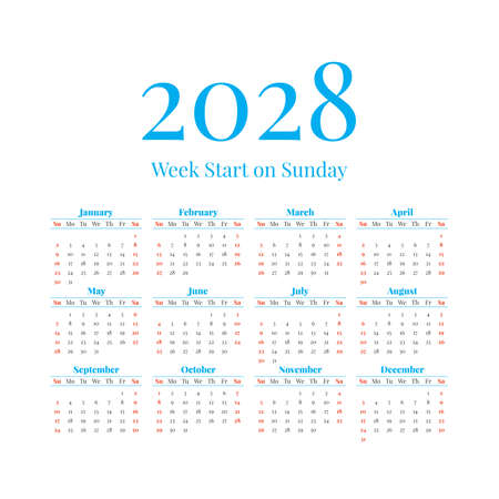 2028 Calendar with the weeks start on Sunday Illustration