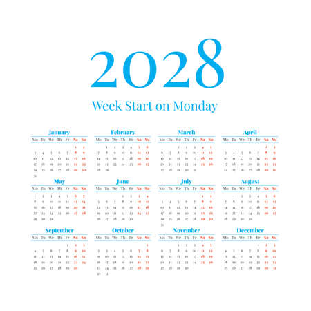 2028 Calendar with the weeks start on Monday