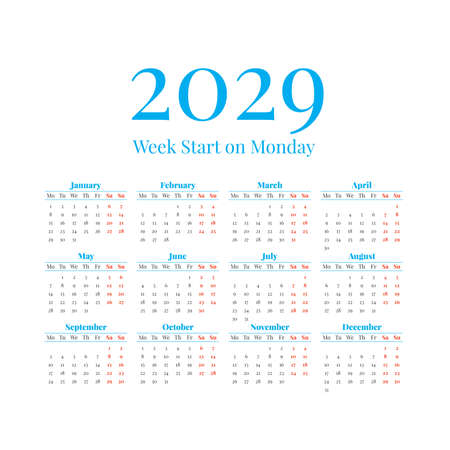 2029 Calendar with the weeks start on Monday