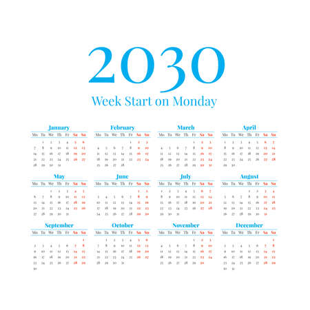 2030 Calendar with the weeks start on Monday