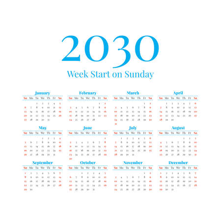 2030 Calendar with the weeks start on Sunday
