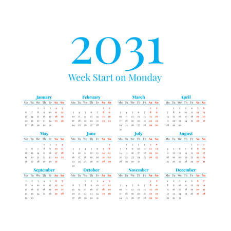 2031 Calendar with the weeks start on Monday