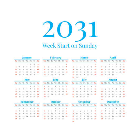 2031 Calendar with the weeks start on Sunday