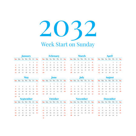 2032 Calendar with the weeks start on Sunday