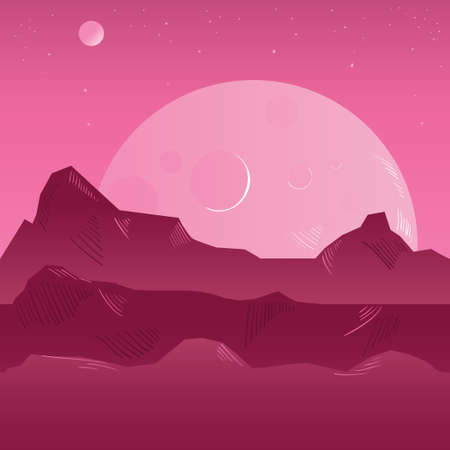 colonization: Planet surface background. Vector illustration with mountains.