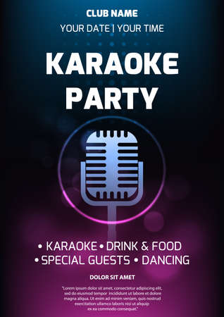 Karaoke party invitation flyer template. Dark background with abstract light and glare. Retro microphone silhouette in center. A4 size. Vector eps 10. Ilustração