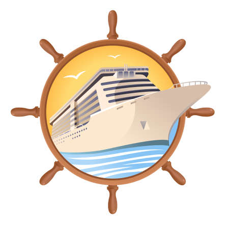 Cruise ship on the steering wheel background