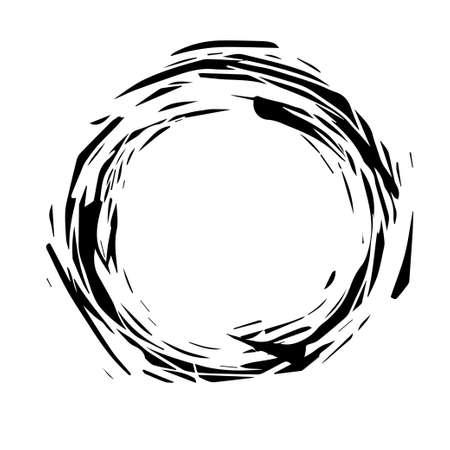 Abstract grunge round frame. Black paint splashes. Dynamic torn shapes. Element for your design. Illustration
