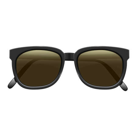 Realistic fashionable dark sunglasses with plastic rims. On white background. Vector isolated illustration.