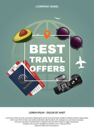 applicable: Best travel offer a4 concept. Text and square frame on the background of the attributes of tourism. Applicable for banner, poster, flyer. Vector illustration.