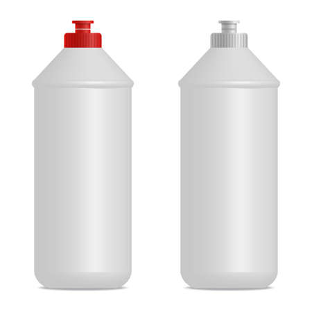 Dish washing liquid cylindrical bottle realistic mock up. Red and gray caps. Empty place for label design. 3D illustration for branding. Isolated on white background.