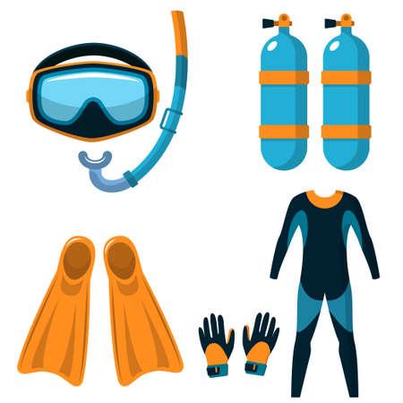 flippers: Buceo. Atributos para bucear. Máscara, snorkel, cilindros de oxígeno, aletas, traje y guantes. Ilustración plana aislada en blanco. Vector EPS 10. Vectores